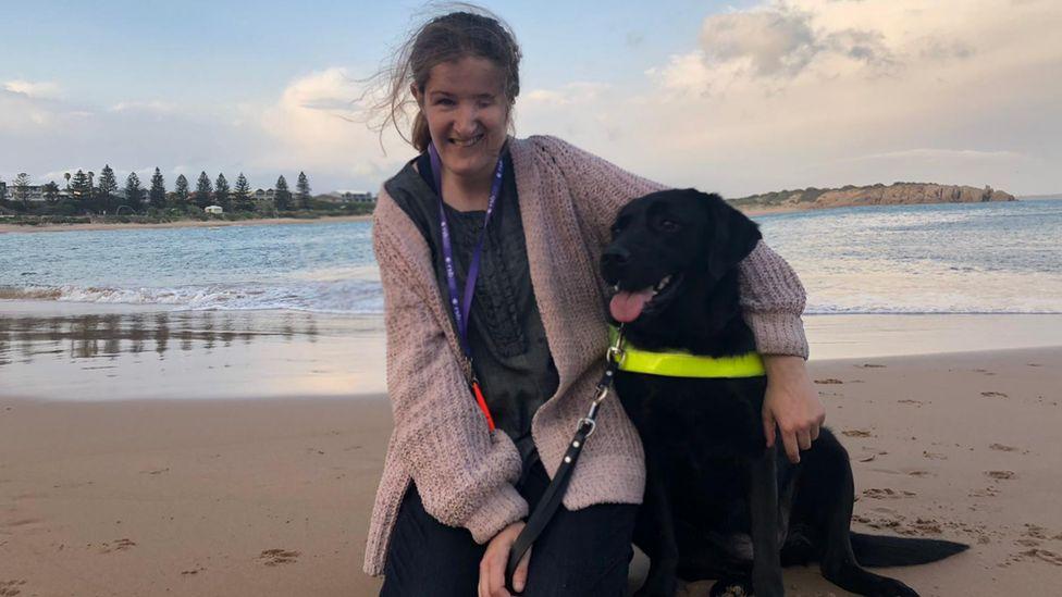 Ellen Fraser-Barbour and her seeing eye dog Inka