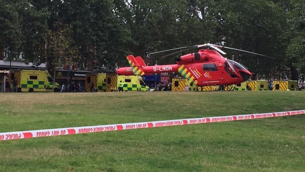 Air Ambulance and ambulance crews waiting near Shepherd's Bush Green