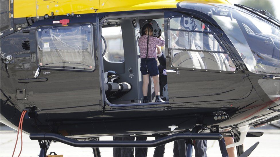 Prince George in a helicopter
