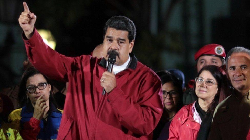 "Venezuela""s President Nicolas Maduro (C) speaks during a meeting with supporters in Caracas, Venezuela July 30, 2017."