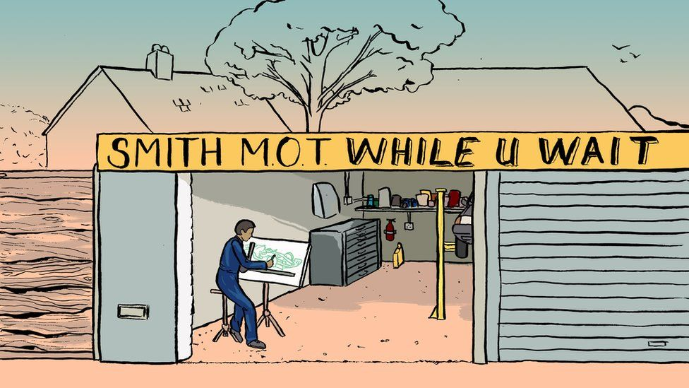 Illustration of a car designer working in a garage. Illustrations by Emma Russell