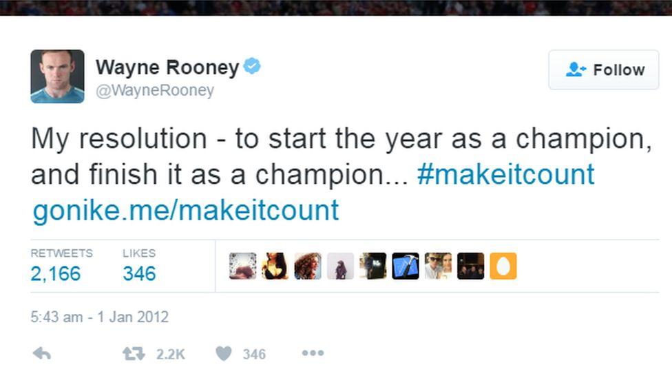 A Tweet from Wayne Rooney
