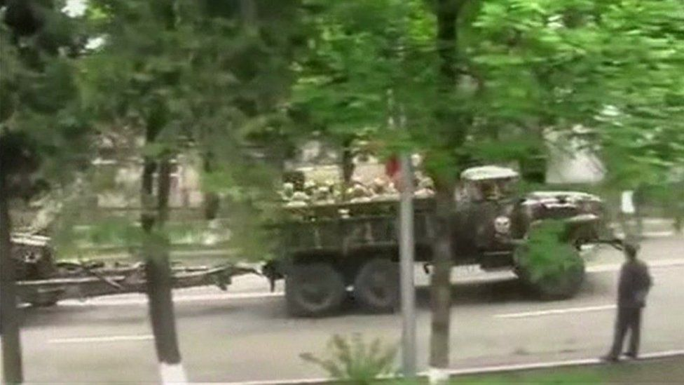 Still form video showing Armenian troops and artillery in Armenia driving in the direction of Nagorno-Karabakh