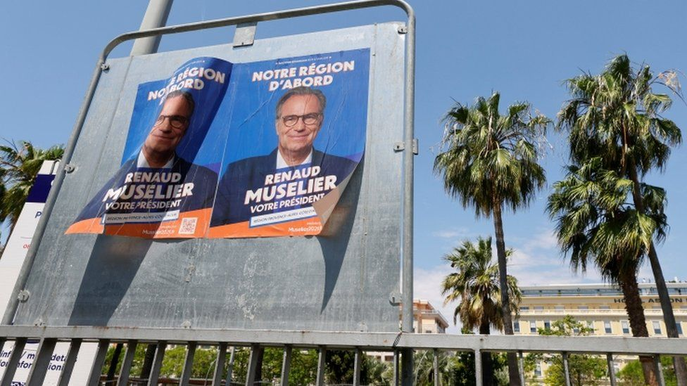 Campaign posters of Renaud Muselier, Les Republicains (LR) conservative party member and president of the regional assembly Provence-Alpes-Cote d'Azur region (PACA