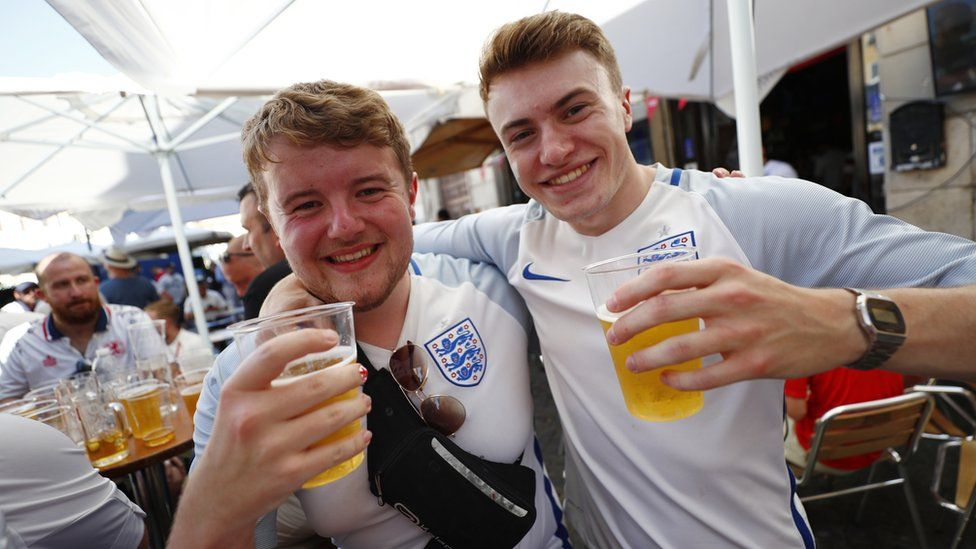 Fans gather in Rome ahead of Ukraine v England - Rome, Italy - July 3, 2021 England fans pose in Rome before the match