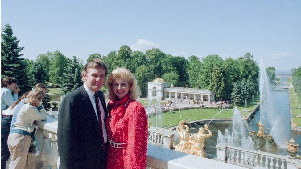 Donald Trump and his then wife Ivana visit St Petersburg in July, 1987