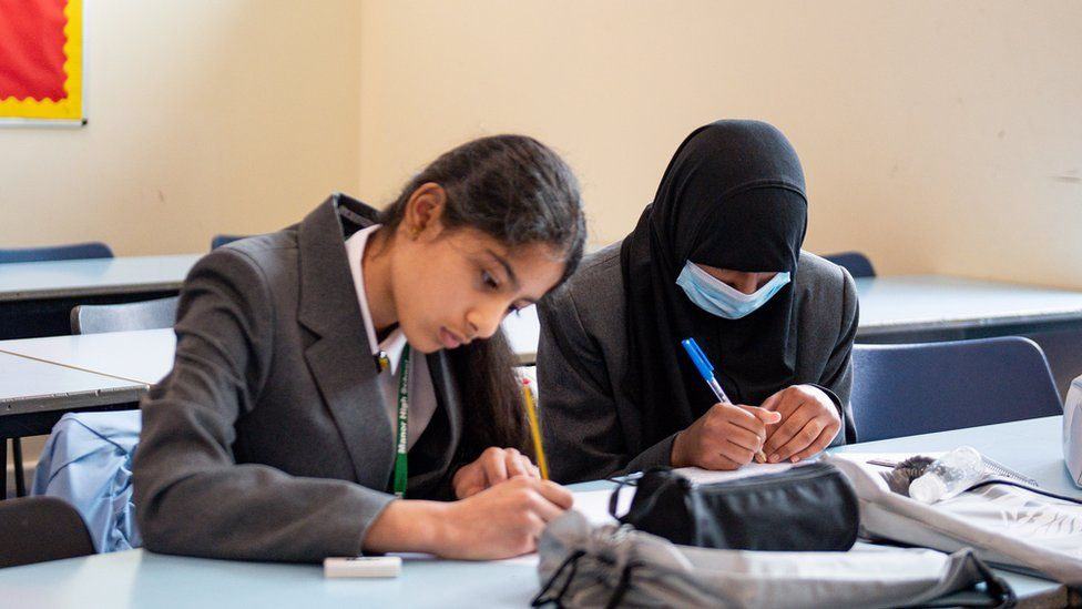Pupils at Manor High School in Leicestershire