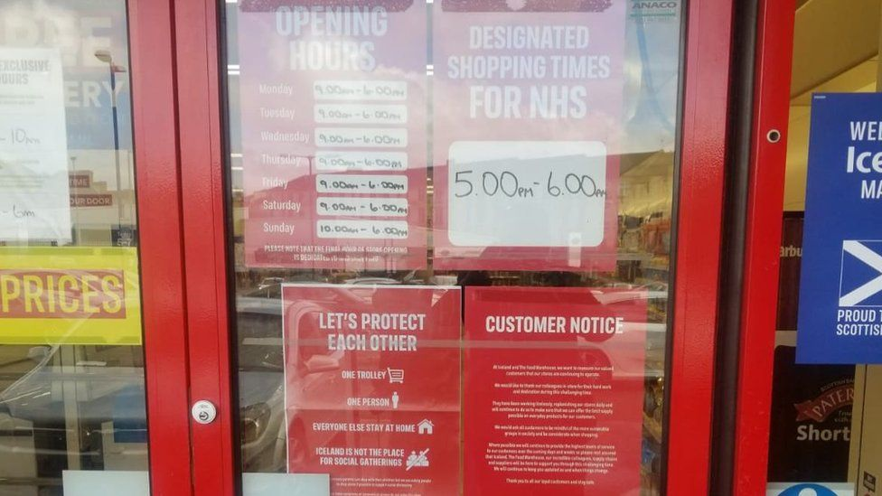 Iceland store showing sign NHS-only shopping hours