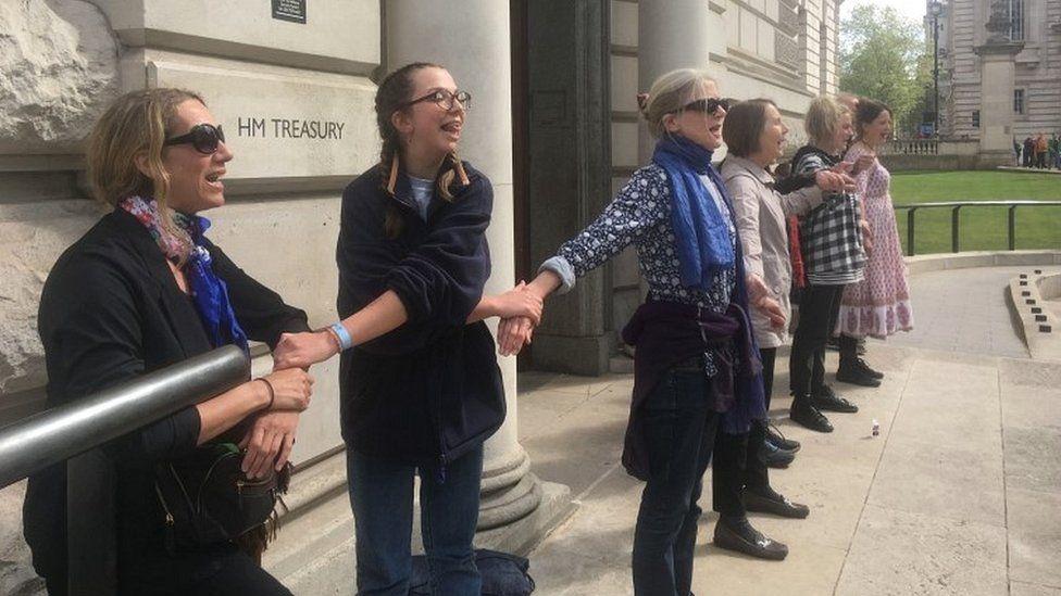 Protesters outside treasury