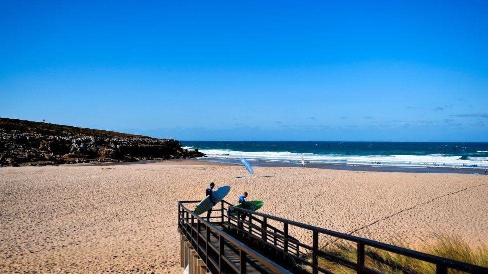 Surfers, Foz do Lizandro beach in Ericeira