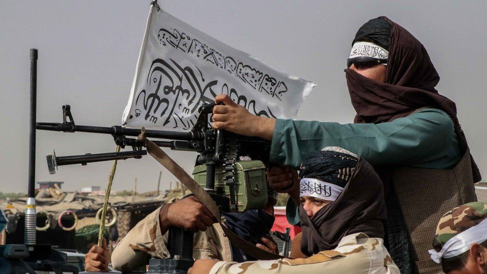 Taliban fighters patrol in Kandahar, 17th August 2021