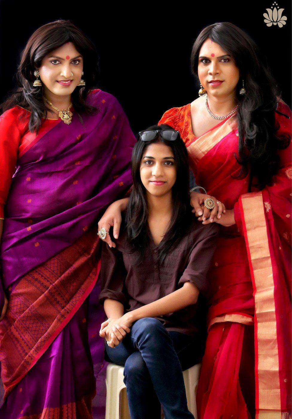 Designer Sharmila Nair with the two transgender models