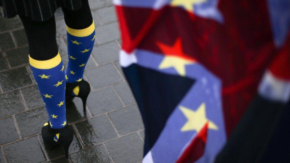 носки с флагом евросоюза и юнион джек