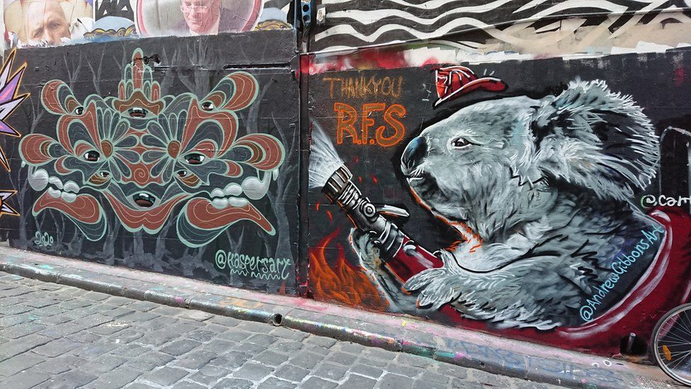 Image result for Graffiti artists pay tribute to Australia firefighters