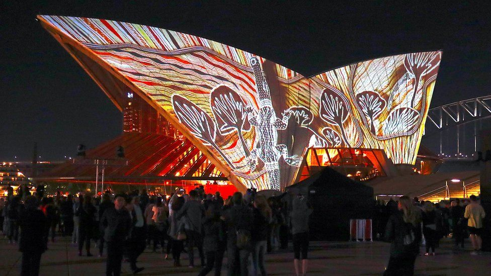 An Aboriginal artwork projected onto the Sydney Opera House sails in 2018