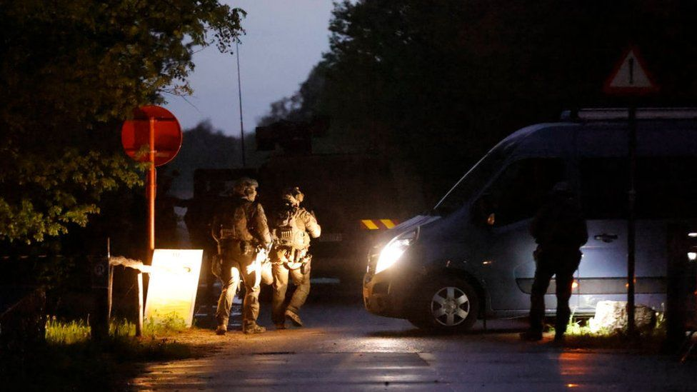 military special forces arriving at night, at the forest of National Park Hoge Kempen in Dilsen-Stokkem, Wednesday 19 May 2021