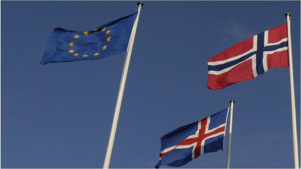 Flags of EU, Norway and Iceland