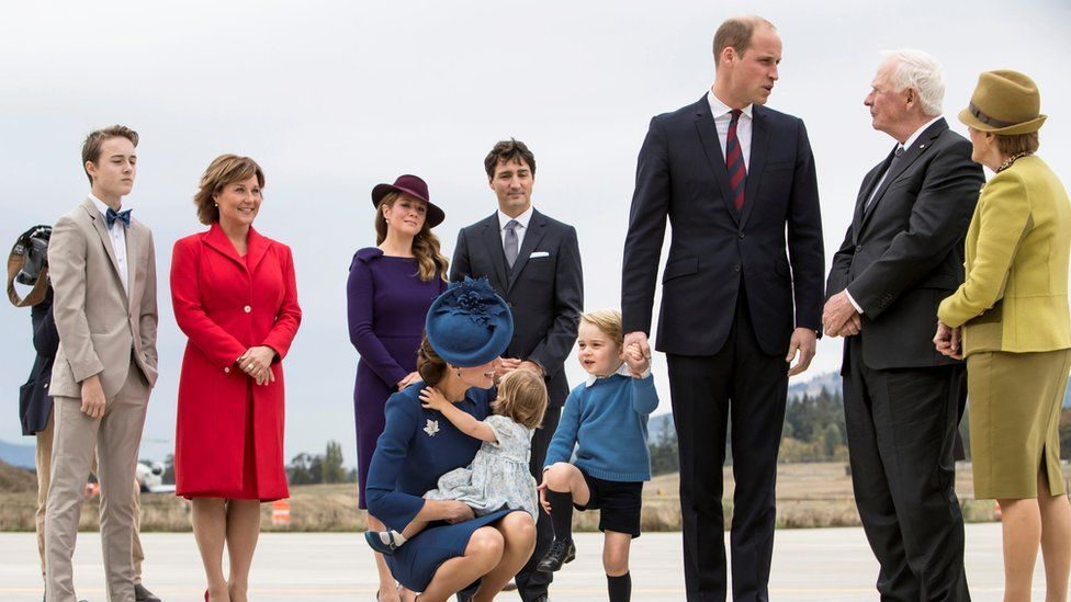 The Cambridges being greeted at Victoria International Airport