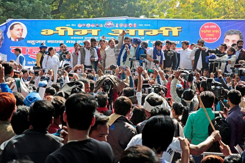 Mr Azad addressing the crowd at a rally in Delhi