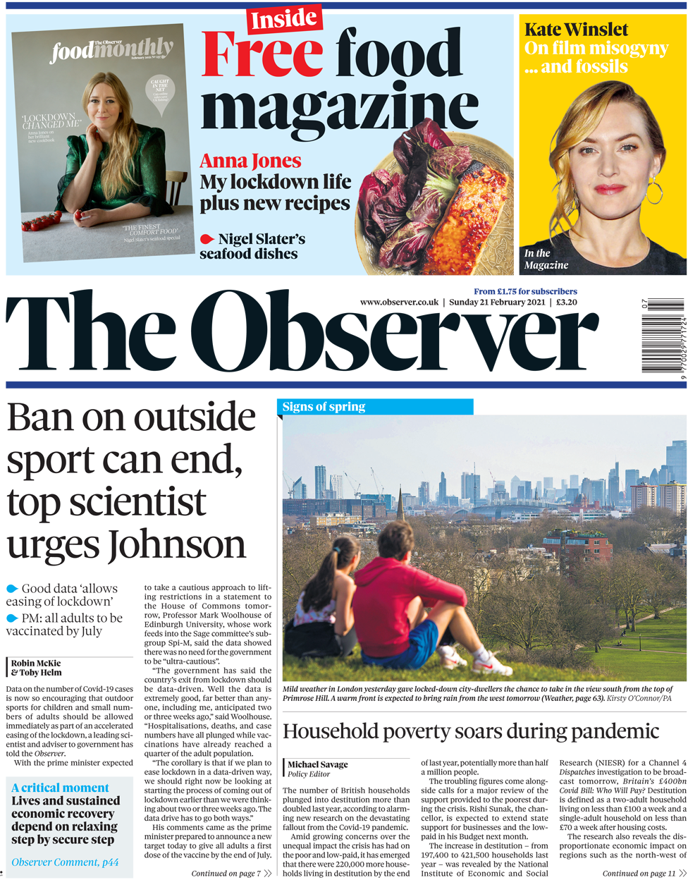 The Observer front page 21 February 2021