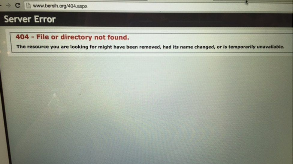 Screencap of inaccessible Bersih website in Malaysia