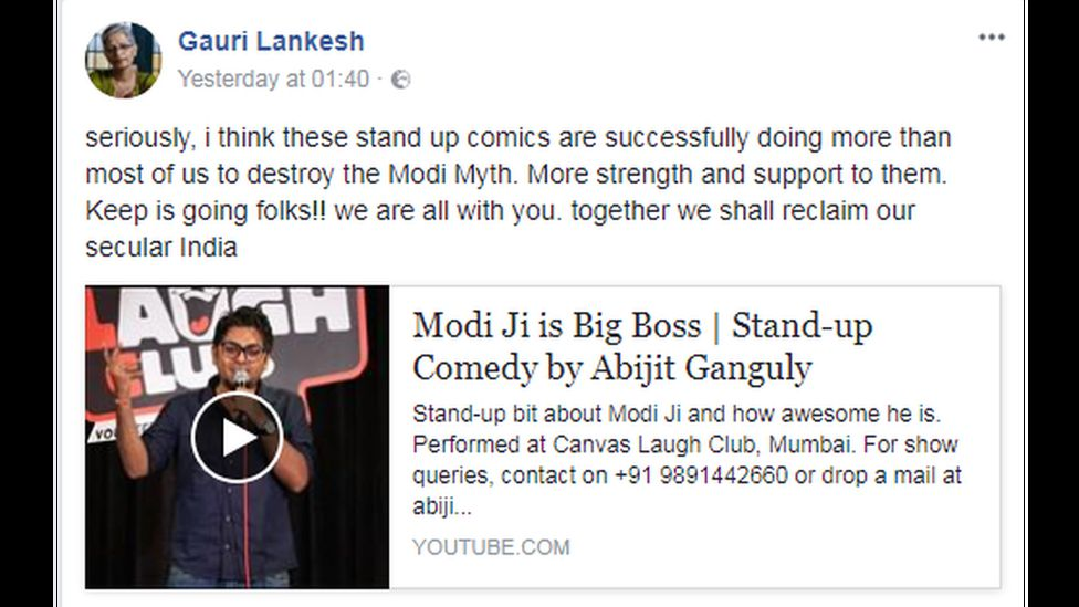 A screenshot of one of Ms Lankesh's Facebook posts