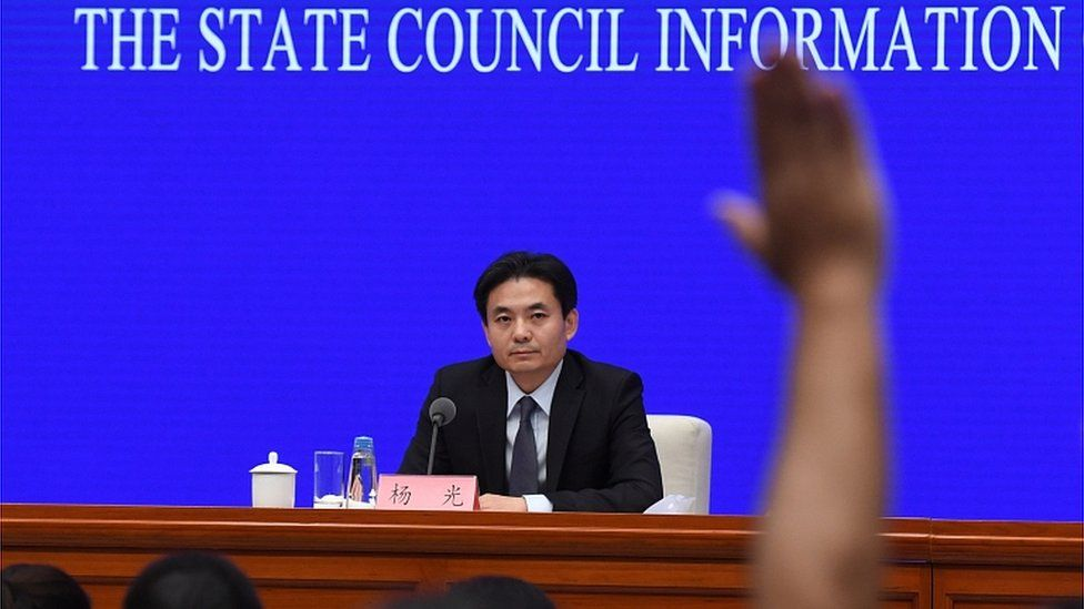 Yang Guang, spokesperson for China's Hong Kong and Macau Affairs Office (HKMAO) of the State Council, attends a press conference in Beijing on September 3, 2019