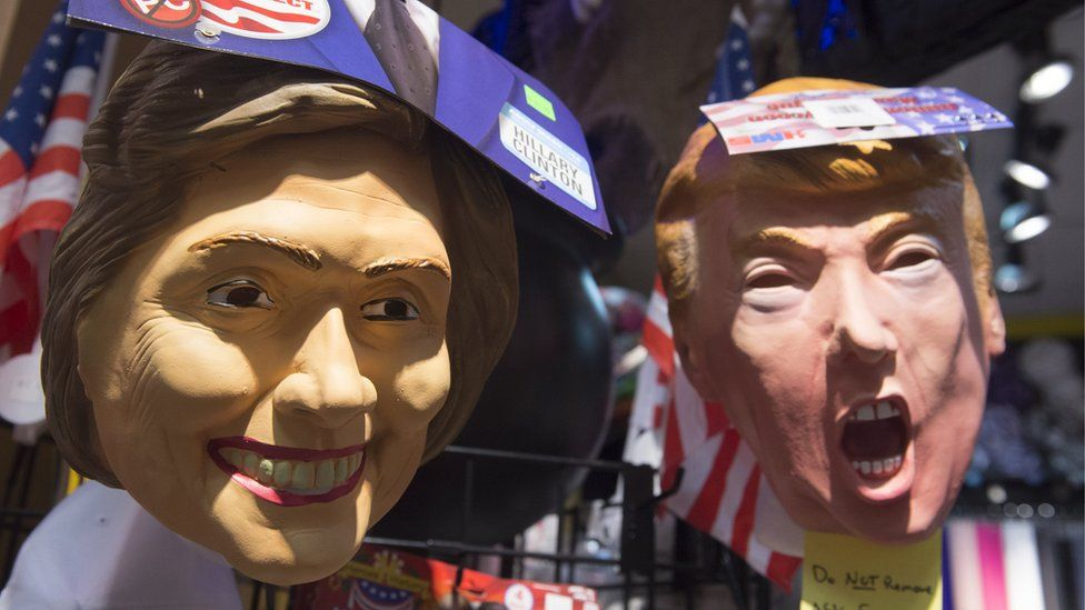Clinton and Trump masks