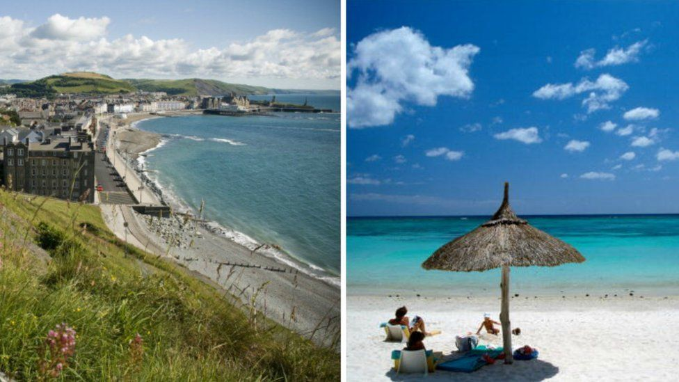 Aberystwyth seafront and a beach on Mauritius