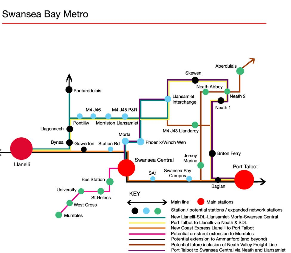 Map of rail routes
