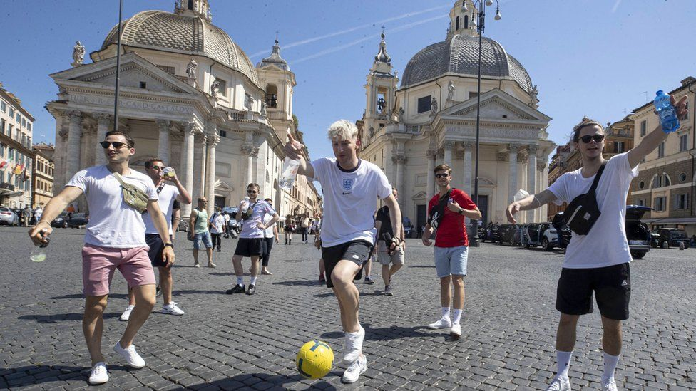 English fans in Piazza del Popolo, before the European soccer match between Ukraine and England, Rome, Italy, 3