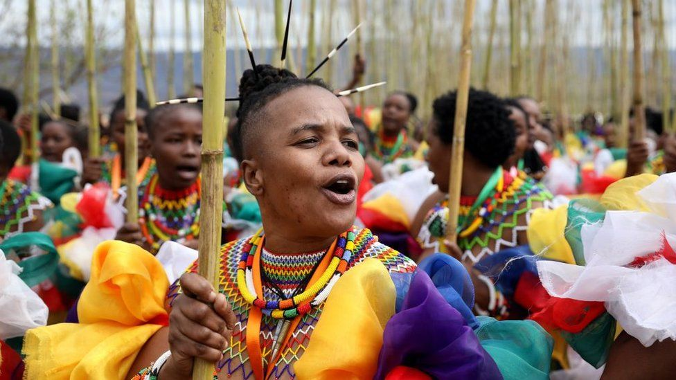 Zama Msomi, 36, from KwaMashu leads her group of maidens during the annual Umkhosi Womhlanga (Reed Dance) at Enyokeni Royal Palace on September 07, 2019 in Nongoma, South Africa