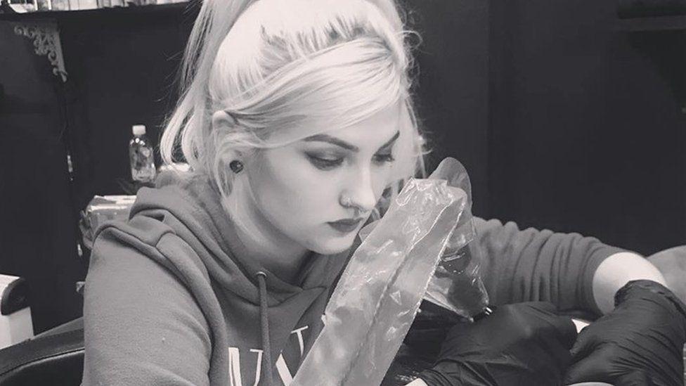 Charlotte Davies in her tattoo studio