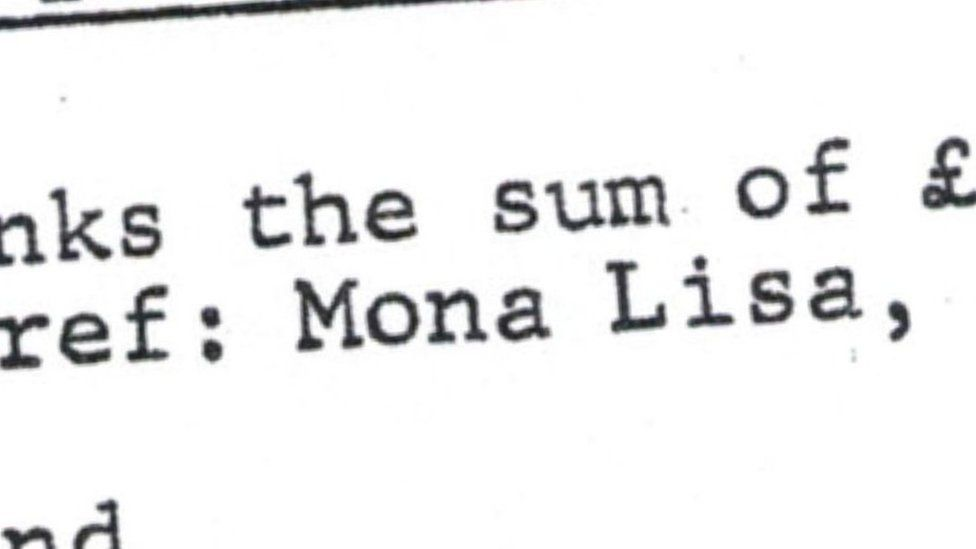 """A close-up detail of a document showing the words """"Mona Lisa"""""""