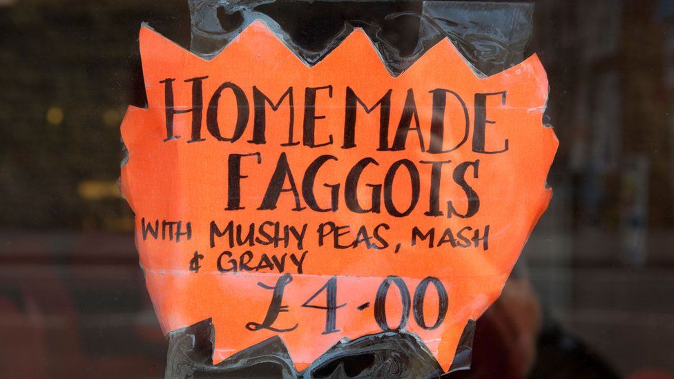 Signs for faggots and peas