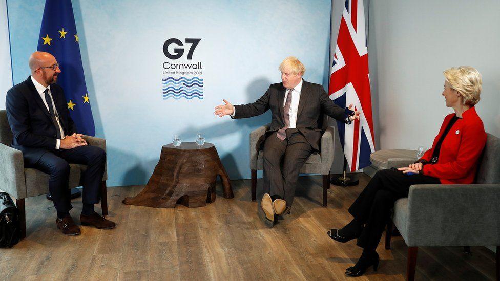 Boris Johnson with Charles Michel and Ursula von der Leyen