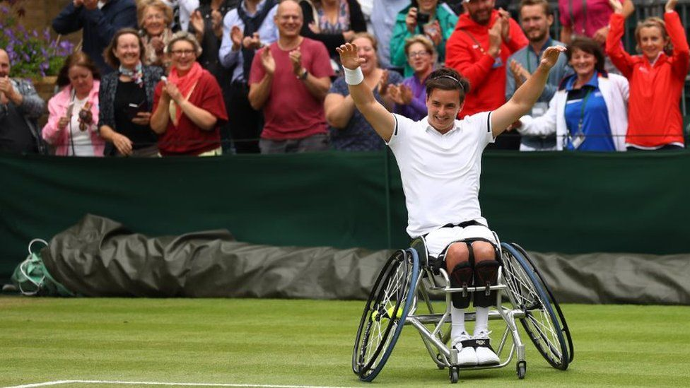 Gordon Reid celebrating his Wimbledon 2016 win