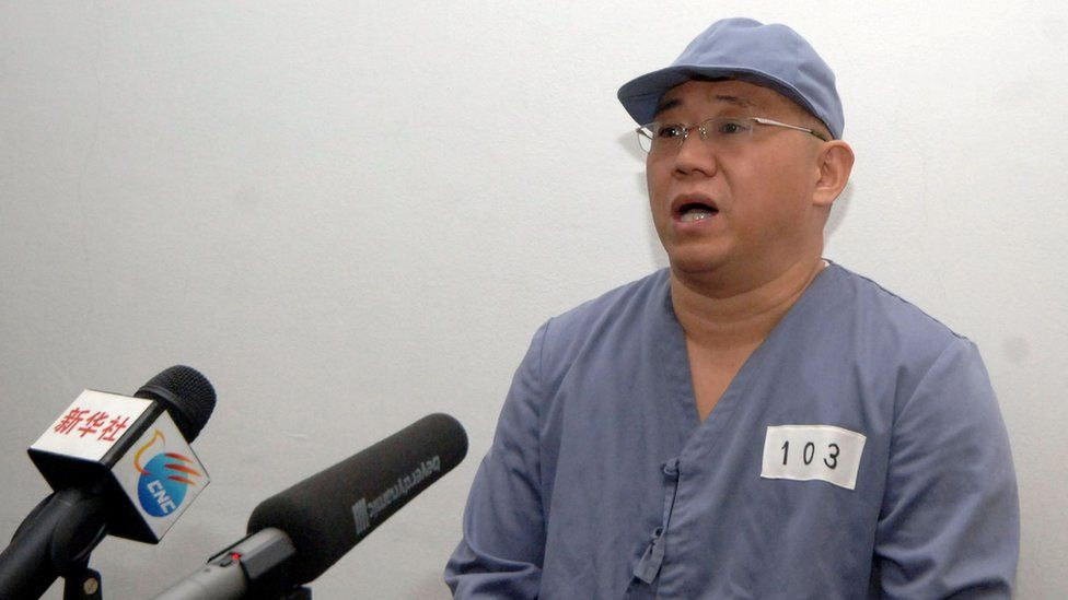 """Kenneth Bae, a Korean-American Christian missionary who has been detained in North Korea for more than a year, appears before a limited number of media outlets in Pyongyang in this undated photo released by North Korea""""s Korean Central News Agency (KCNA) on January 20, 2014."""