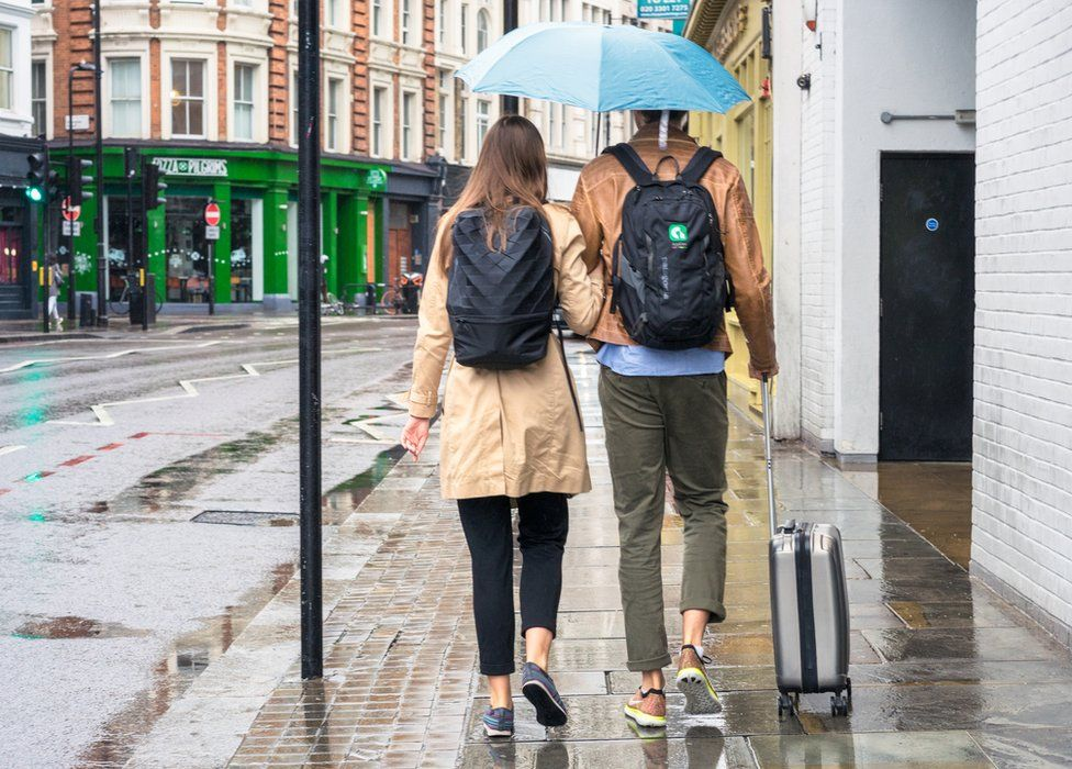 Couple walking on a pavement in London