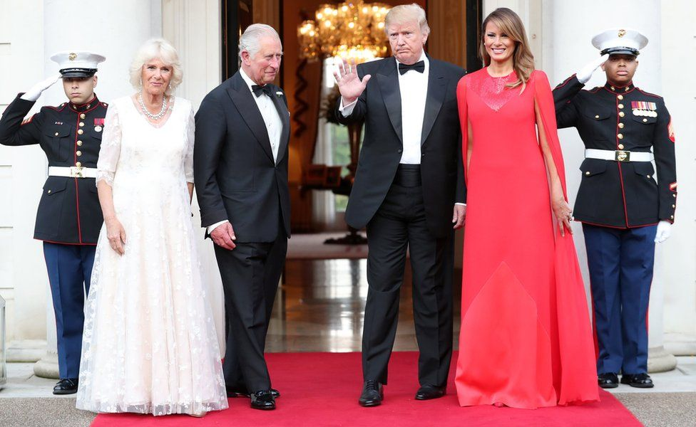 The Prince of Wales and Duchess of Cornwall joined Mr and Mrs Trump for dinner at the US ambassador's residence in Regent's Park, London