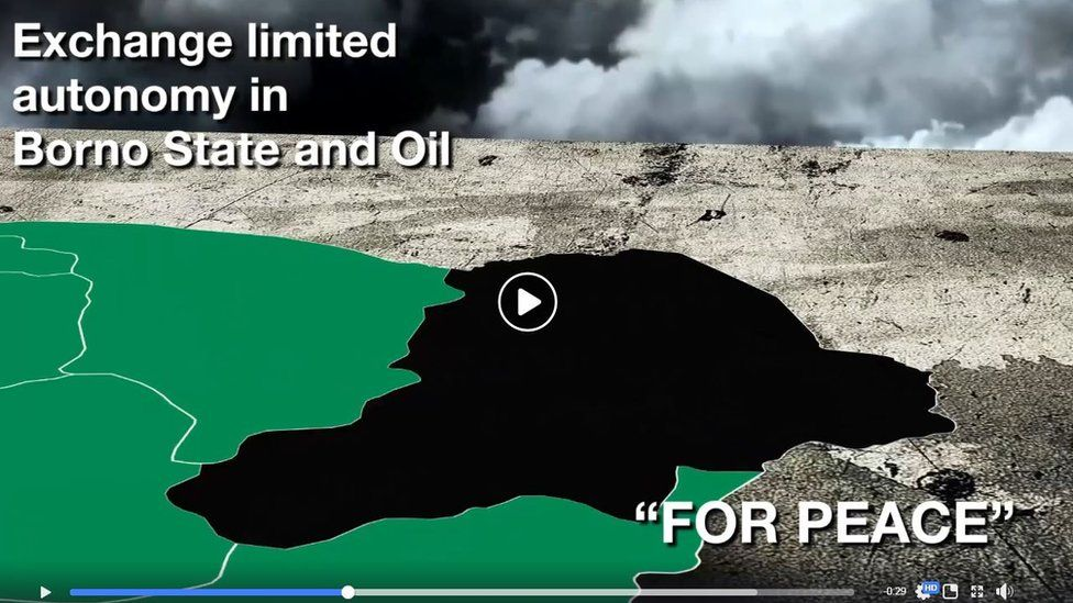 A screenshot of the video about Atiku's alleged plan about exchanging land and oil for peace with Boko Haram - which Atiku has denied