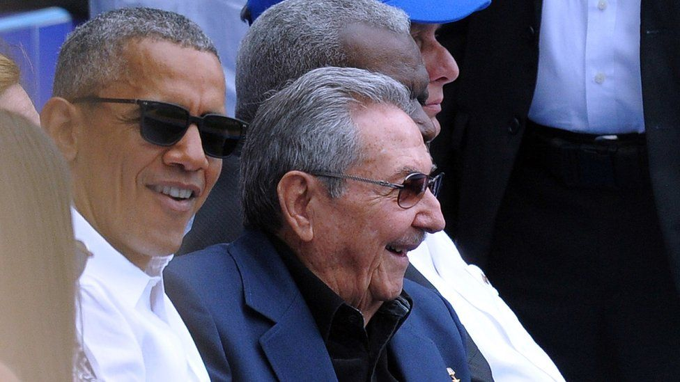 US President Barack Obama (L) and Cuban President Raul Castro attend a Major League baseball exhibition game at the Latinoamericano stadium in Havana on March 22, 2016