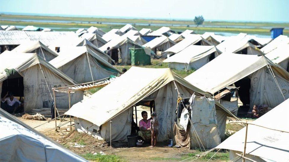 Rohingya in a camp in Sittwe, Rakhine (file image)