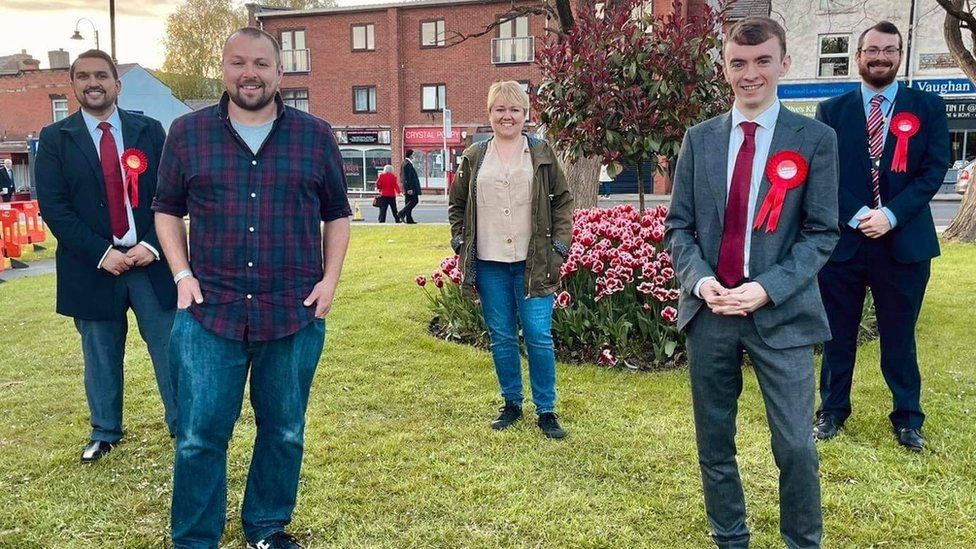 Ciaron Boles (second from right) with fellow Labour party members