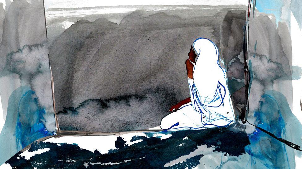 Noura in prison (illustration)