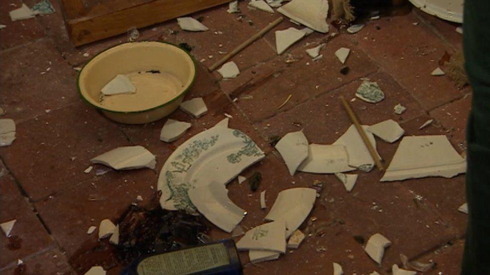 Smashed porcelain on a floor