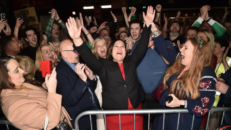 Sinn Féin president Mary Lou McDonald celebrates her party's success in the 2020 Irish General Election