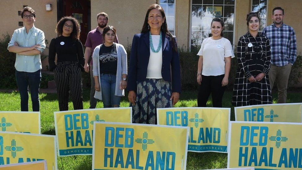 Native American candidate Deb Haaland and her staff at her office in Albuquerque, New Mexico.