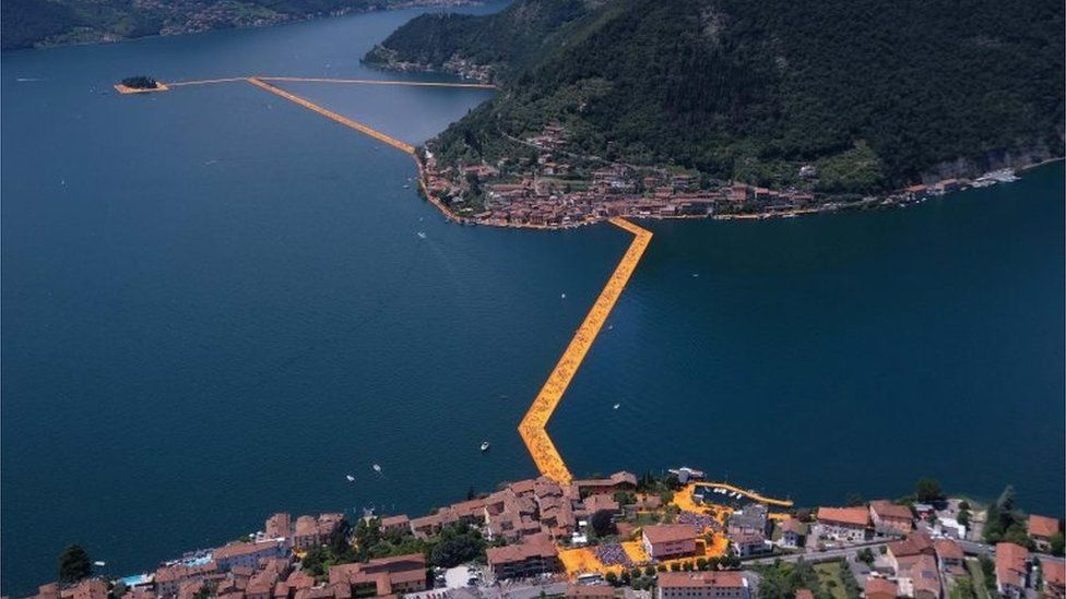 Aerial view of Floating Piers by Bulgarian-born artist Christo 18/06/2016