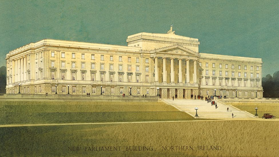 Artwork of Stormont, Belfast, Northern Ireland, by architect Arnold Thornely - 1932